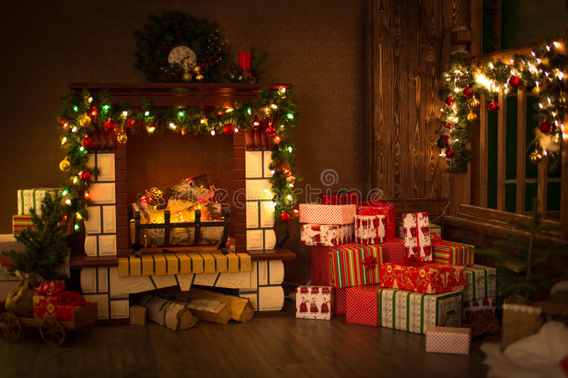 decorated with fir branches and fireplace garland christmas and stock photo image 63841612. Black Bedroom Furniture Sets. Home Design Ideas