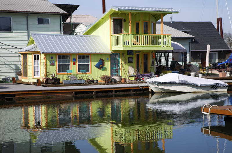 A decorated floating house, Portland OR. A decorated and colorful floating house, Portland OR royalty free stock photography