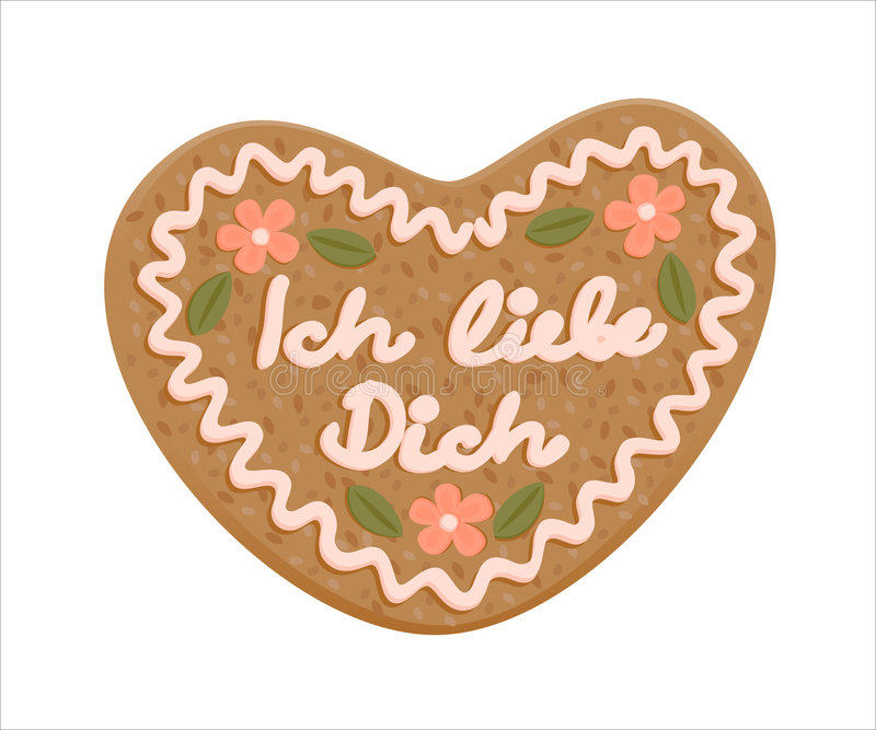 Decorated gingerbread heart stock illustration