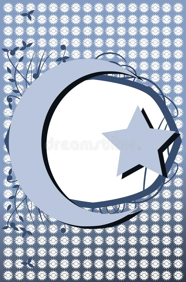 Decorated Half Moon With Star On Background Stock Illustration