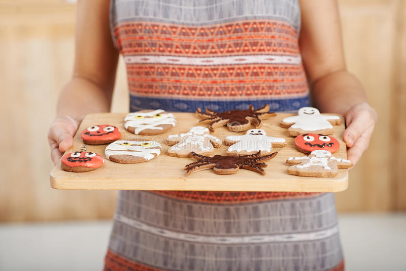 Decorated Halloween cookies stock images