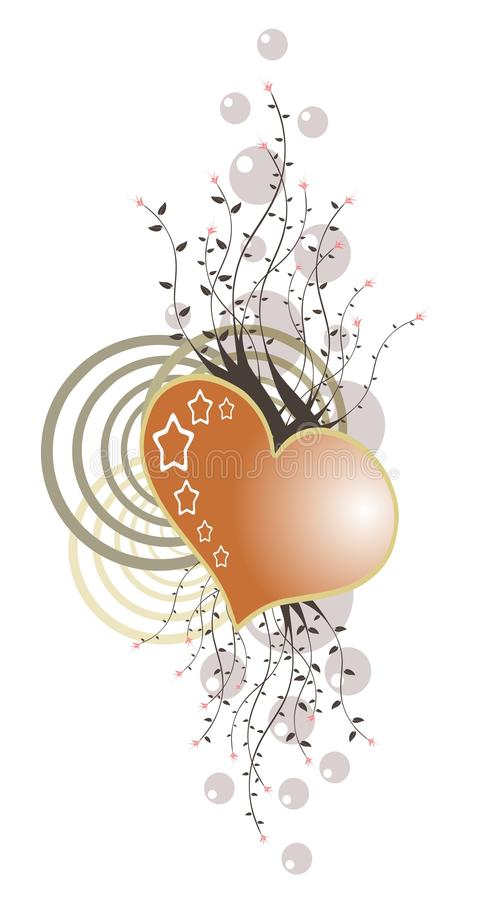 Isolated heart decorated with floral fantasy stock illustration