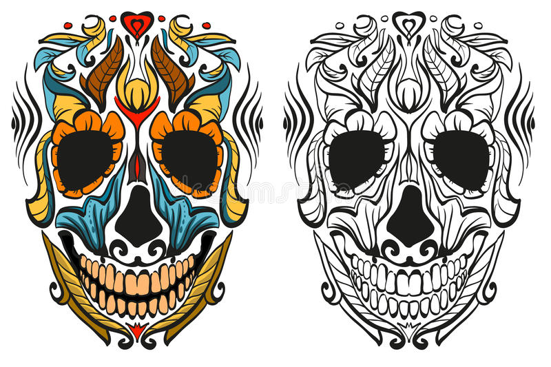Decorated human skull for holiday Day of Dead stock illustration