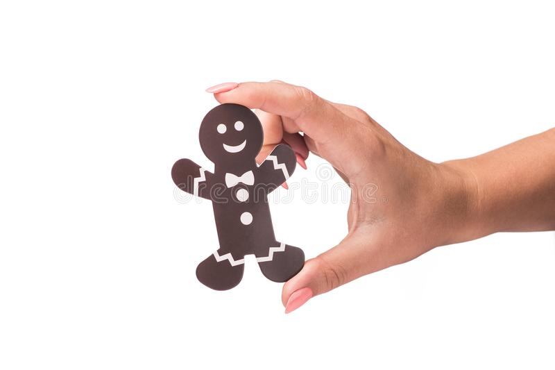 decorated icon of cookie man isolated stock image