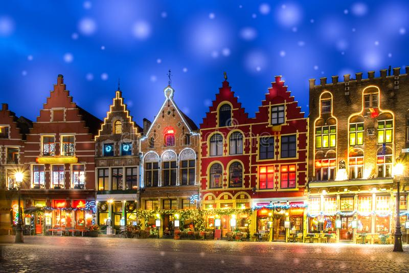 Decorated and illuminated Market square in Bruges, Belgium.  stock photography