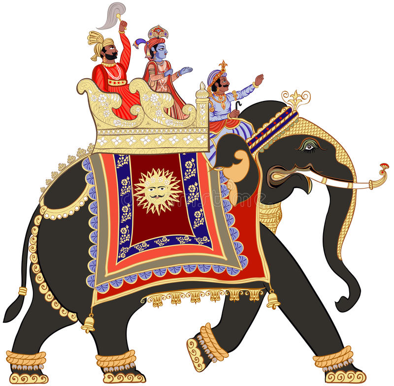 Decorated indian elephant. Vector illustration of a decorated indian elephant royalty free illustration
