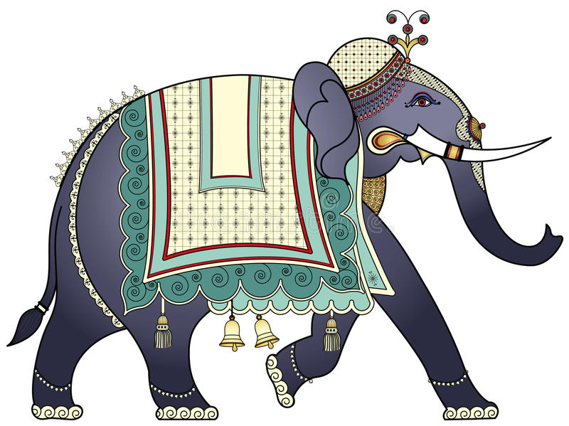 Decorated Indian elephant. Hand drawing of a decorated Indian elephant vector illustration