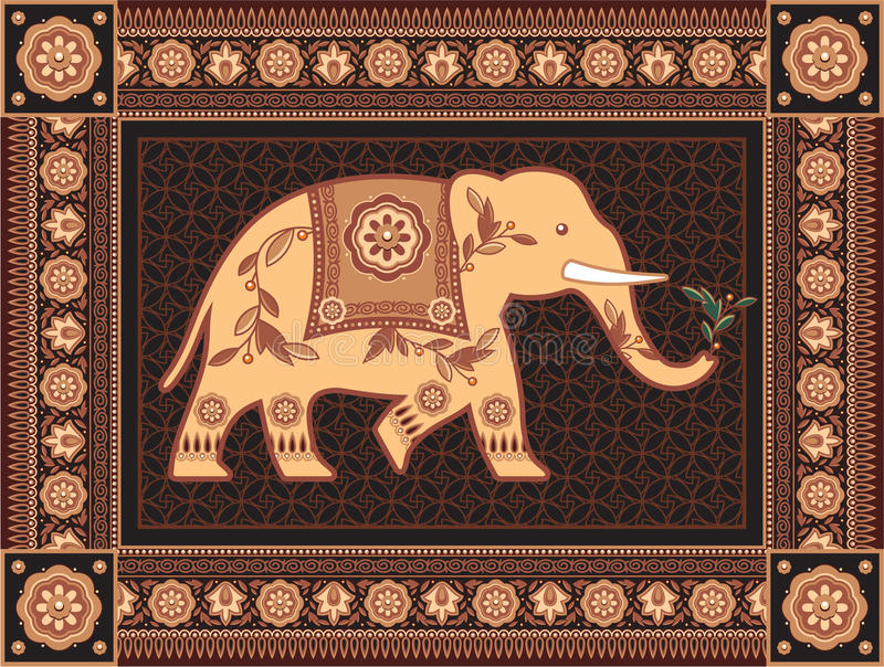 Decorated Indian Elephant In Detailed Frame royalty free illustration