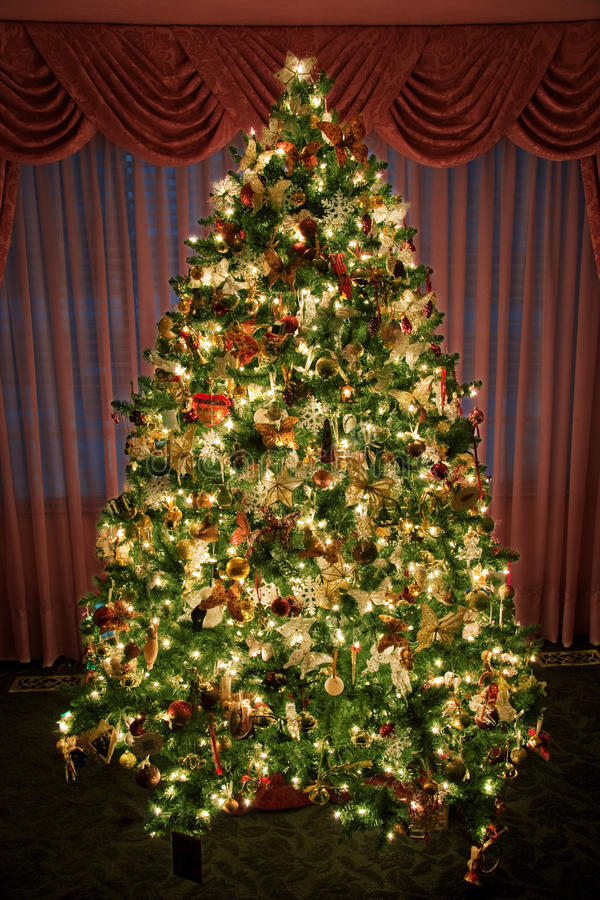 Decorated - lighted Christmas Tree. A decorated and lighted indoor Christmas tree stock photography