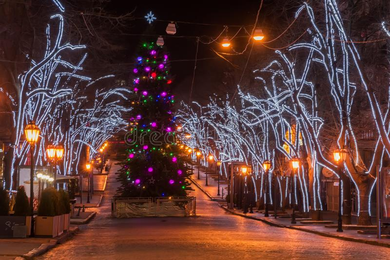 Decorated with lights, garlands of Christmas tree, the central old street. Of the city. Night photo. A row of old street lamps. Odessa. Ukraine. Deribasovskaya royalty free stock photo