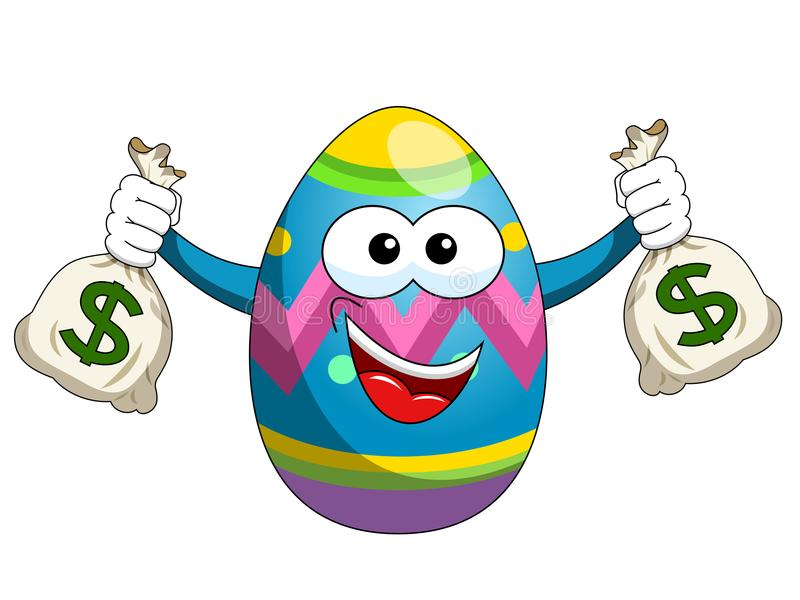 Download Decorated Mascot Easter Egg Holding Sacks Of Money Isolated Stock Vector - Illustration of easter, decorated: 107535209
