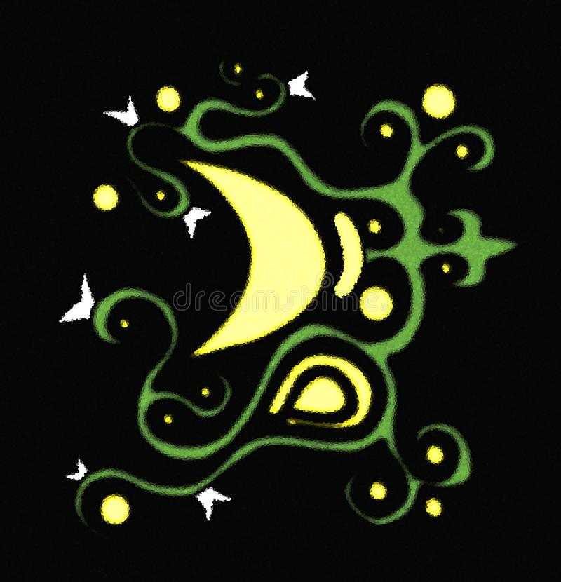 Download Colorful Illustration With Decorated Moon Stock Illustration - Image: 13877389