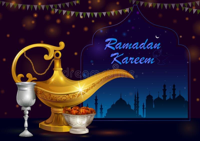 Decorated mosque in Eid Mubarak Happy Eid Ramadan background stock illustration