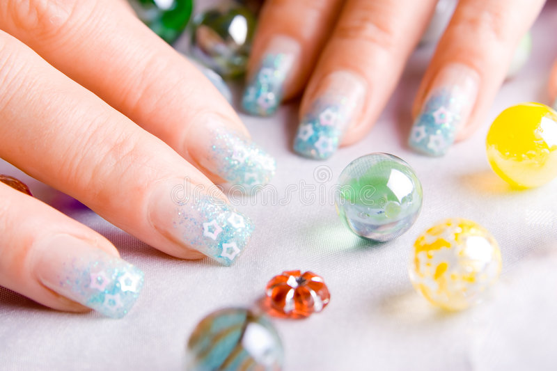 Decorated Nails Stock Photo