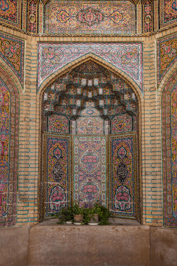 Decorated niche in mosque, shiraz, iran. Tile decorated niche in the nasir al-mulk mosque in shiraz, iran stock images