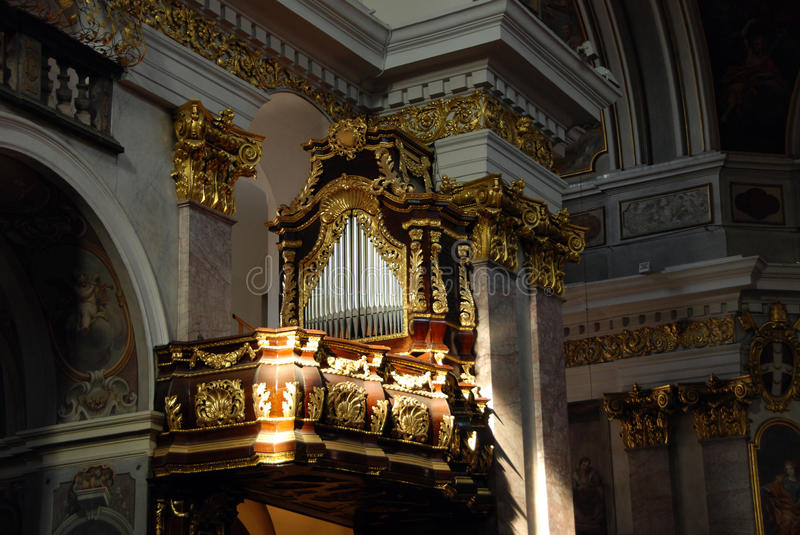 Decorated organ. Richly decorated organ in a baroque church in Slovenia stock photography