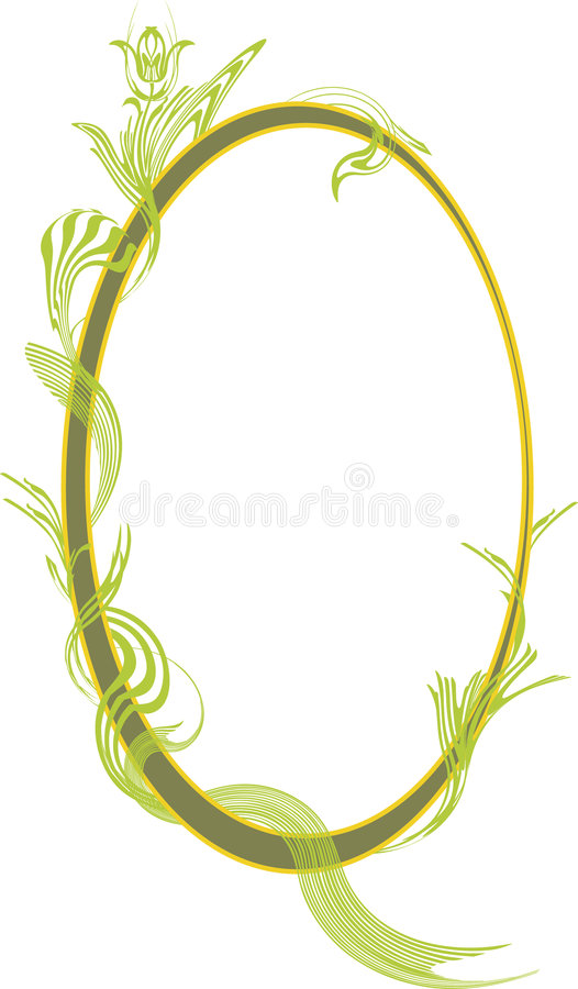 Decorated oval frame. Oval frame or vignette decorated with abstract vegetation vector illustration