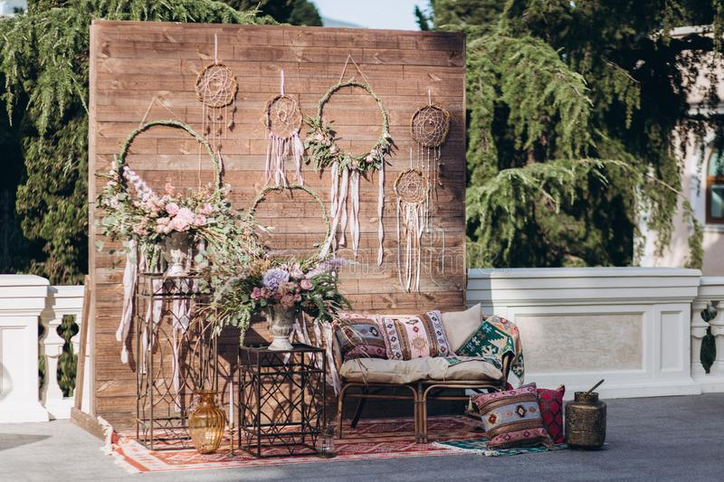 Decorated photo zone in the style of boho. royalty free stock photos