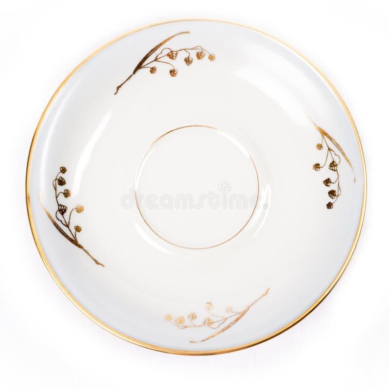 Decorated porcelain dish isolated on white background - photo. One Decorated porcelain dish, isolated on white background - photo royalty free stock photos