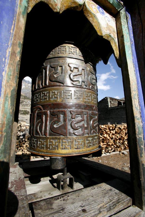 Download Decorated Praying Wheel On Annapurna Stock Image - Image: 5004341