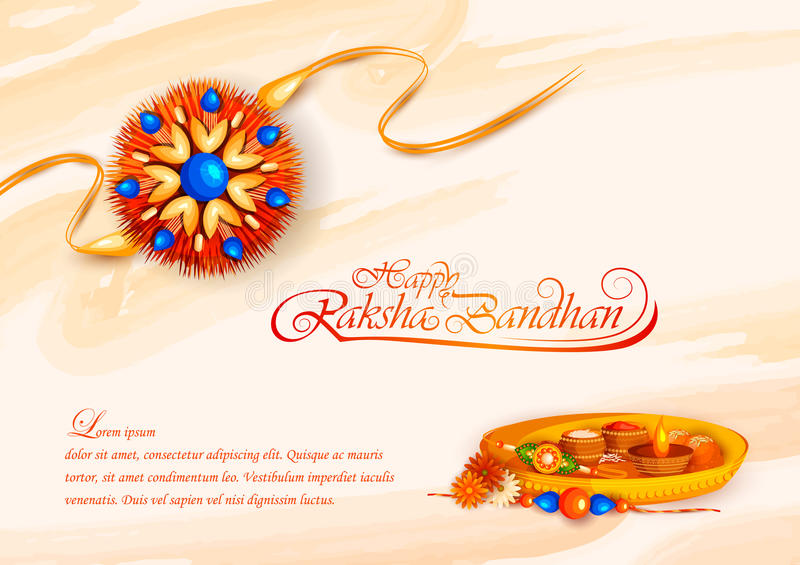 Decorated rakhi for Indian festival Raksha Bandhan stock illustration