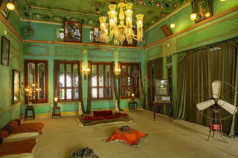Decorated royal room, City Palace, Udaipur, Rajasthan. Decorated royal room at City Palace, Udaipur, Rajasthan stock images
