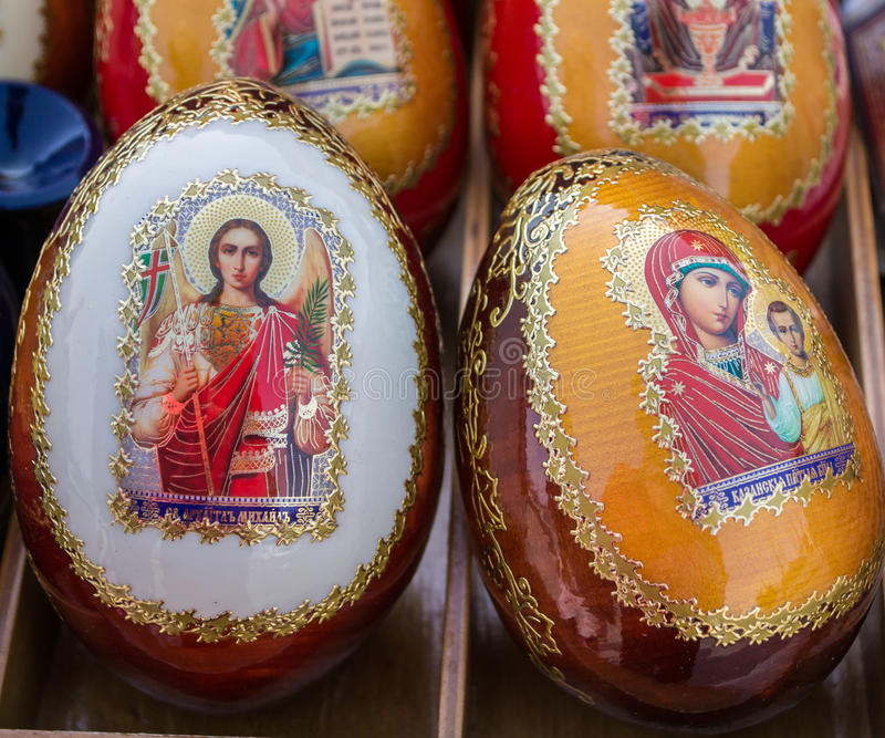 Decorated Russian Easter Eggs Stock Photo Image Of Wooden