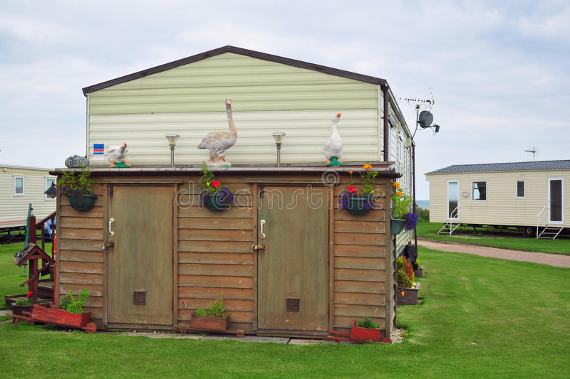 Download Decorated Shed In Caravan Camp Or Trailer Park Stock Image - Image: 20742297