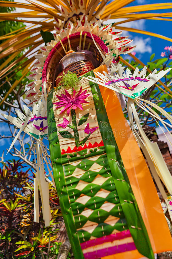 Decorated shrine of traditional Hindu Bali penjor royalty free stock photo