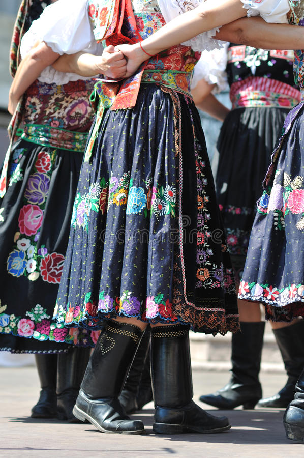 Decorated skirt folk costume, royalty free stock images