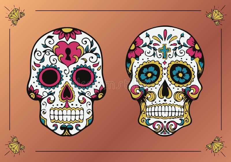Decorated skulls. La Calavera Catrina. Decorated skull illustration for religious tradition. Calavera Catrina, traditional illustration of mexico royalty free illustration