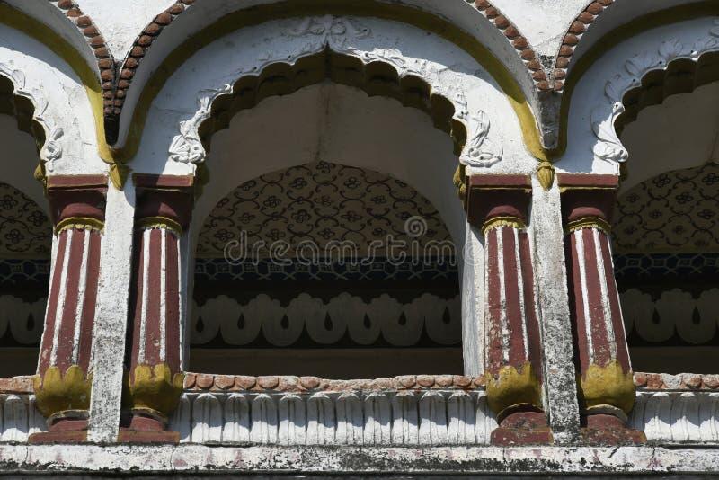 Decorated stone masonry Balcony over main Gateway at Vitthal Temple. Palashi, Parner, Ahmednagar stock image