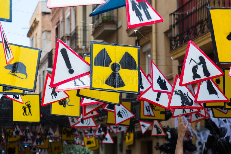 Decorated Streets Of Gracia District Theme Of Signs And Symbol