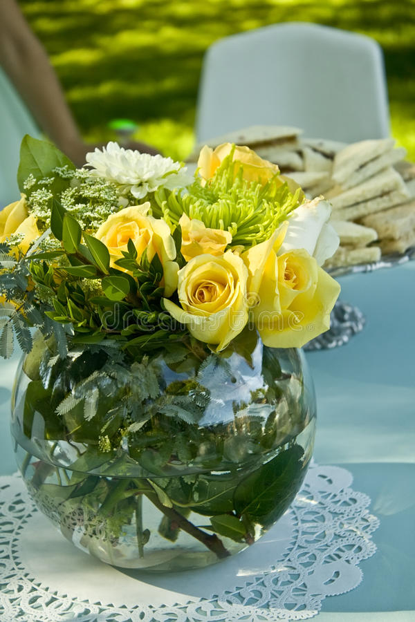 Decorated table in a park ready for guests royalty free stock photography