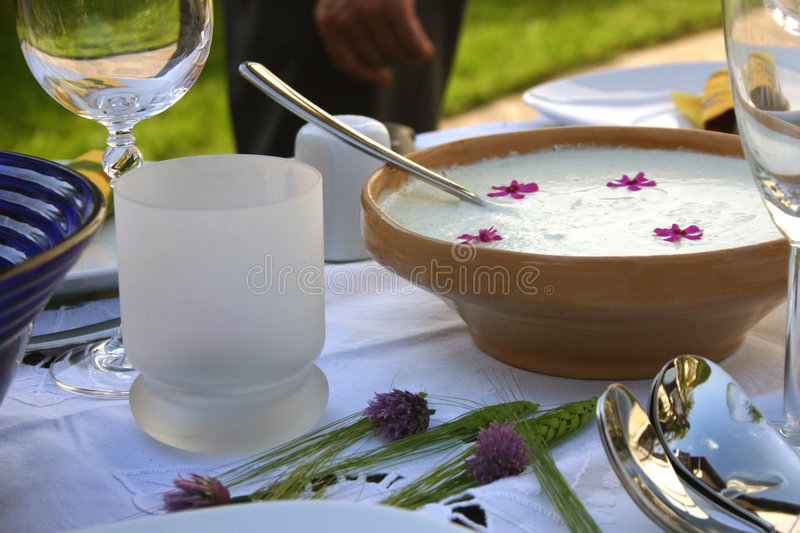 Decorated table with tzatziki stock image