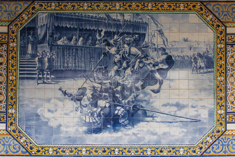 Decorated tiles. College of Sao Tomas. Coimbra. Portugal stock images