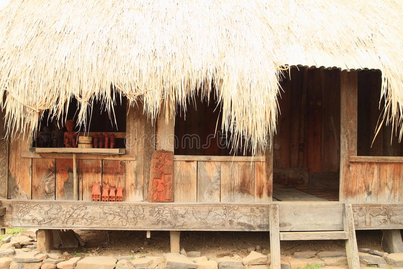 Decorated traditional house in open-air museum in Wologai royalty free stock photo