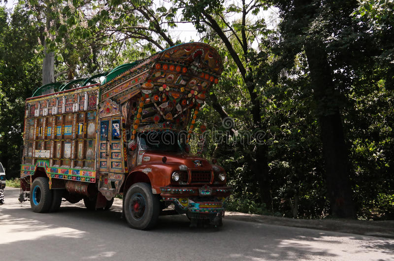Decorated truck on the Karakoram highway Pakistan royalty free stock photo