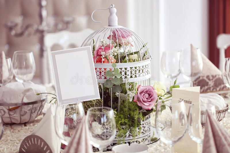 Decorated wedding table stock images