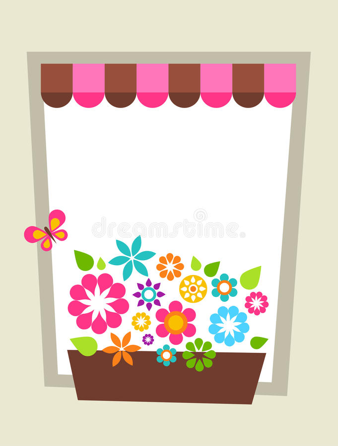 Download Decorated Window Shaped Card Template Stock Vector - Image: 14316349
