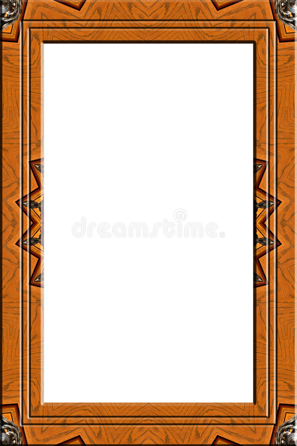 Decorated wood portrait frame stock photos
