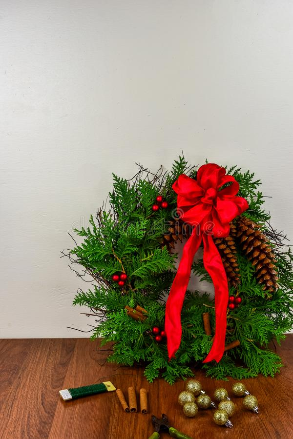 A decorated wreath for Christmas stock images