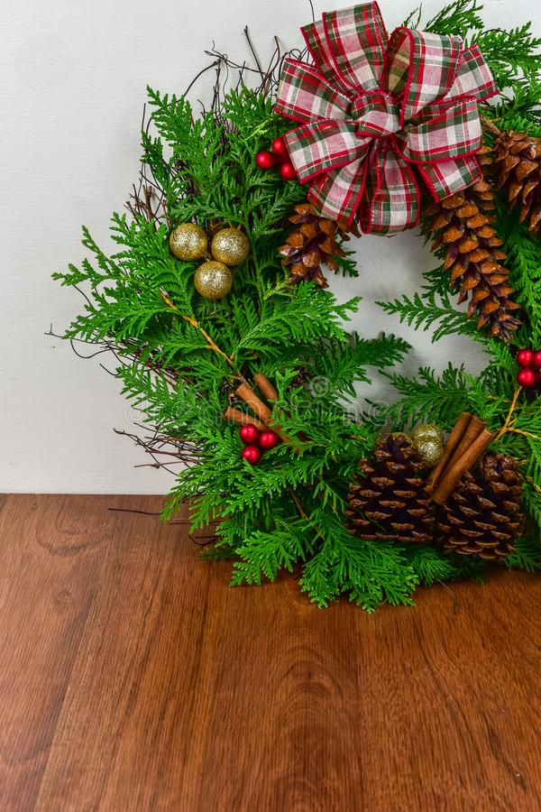 A decorated wreath for Christmas royalty free stock photo
