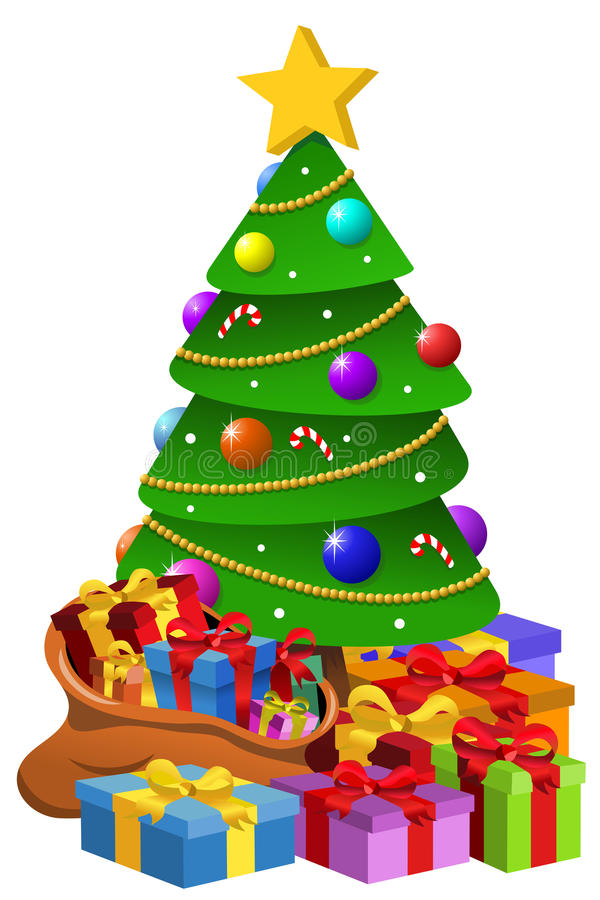 Free Decorated Xmas Tree Giftboxes Isolated Royalty Free Stock Images - 63151029