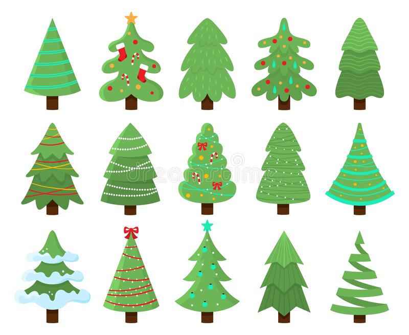 Decorated xmas trees. New Years tree with heralds, striped christmas pine vector illustration set royalty free illustration