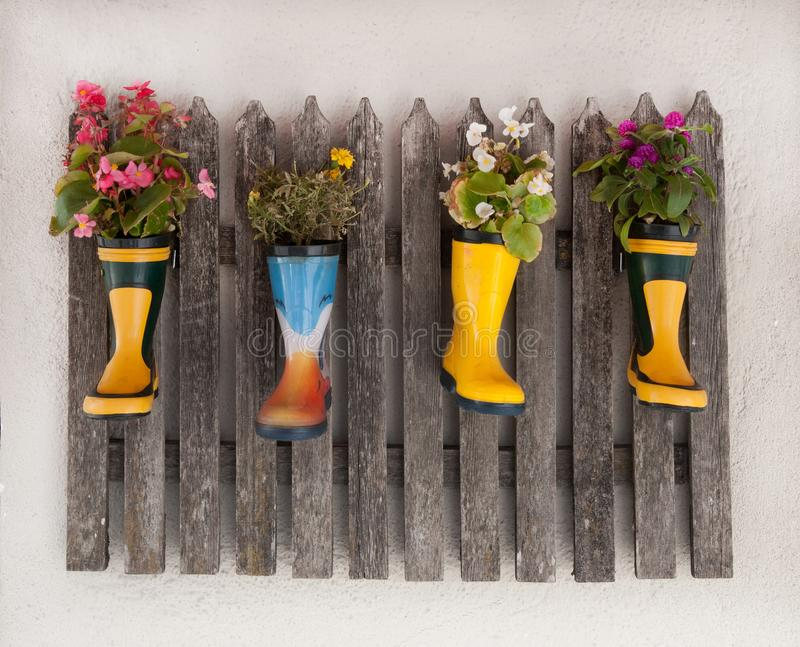 Decoratet de madera de la cerca con las flores plantadas en las botas de goma fotografía de archivo libre de regalías