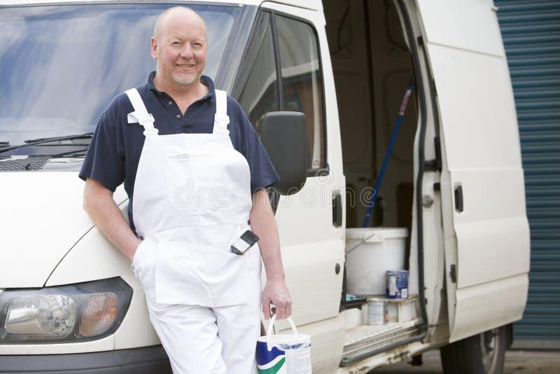 Decorateur met Bestelwagen royalty-vrije stock fotografie