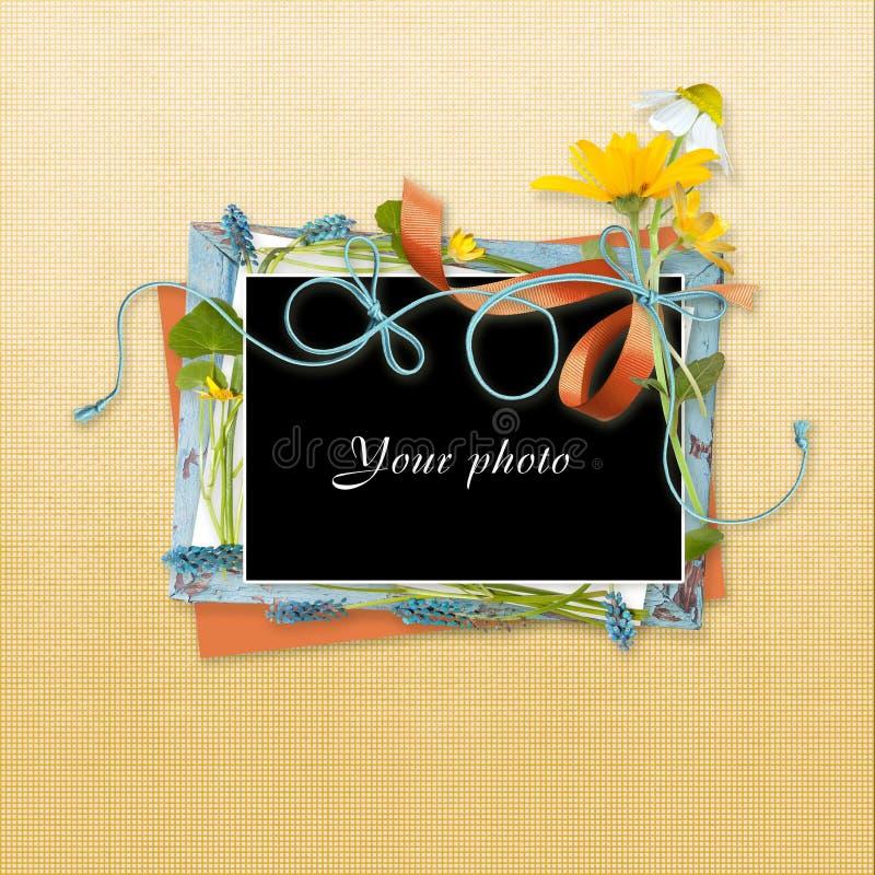 Decoratibe-Rahmen für Foto in der Einklebebuchart vektor abbildung