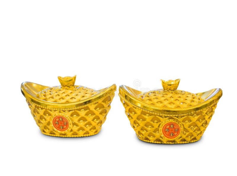 Decoratie Chinees nieuw jaar gouden die baren Yuan Bao op witte achtergrond wordt geïsoleerd stock foto