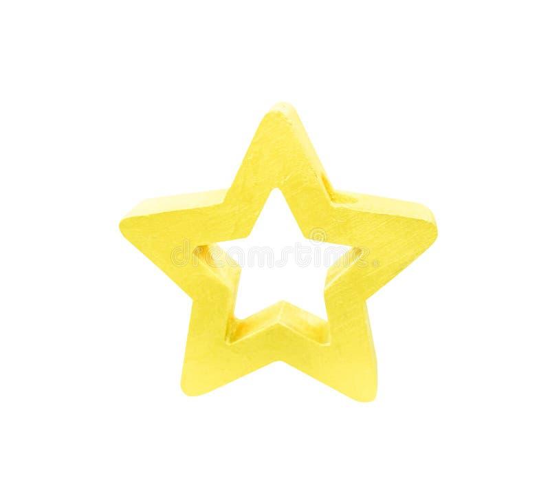 Decoratie gouden die ster op wit met het knippen van weg wordt geïsoleerd royalty-vrije stock fotografie